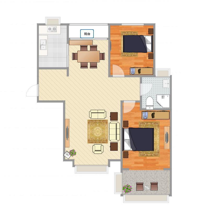 灵台世纪花园6号楼(03、01户)两室两厅一卫94.39平米_2016-01-27-1725