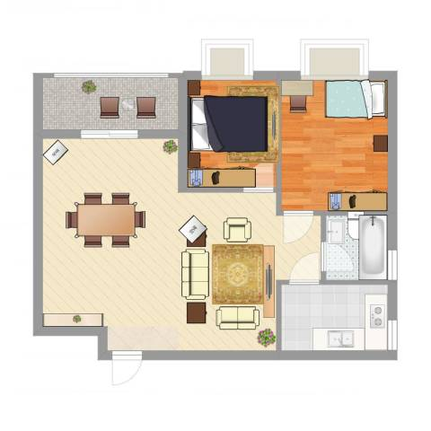 华南名宇二期2室2厅1卫1厨76.00㎡户型图