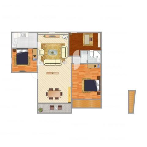 何山花园3室2厅2卫1厨112.00㎡户型图