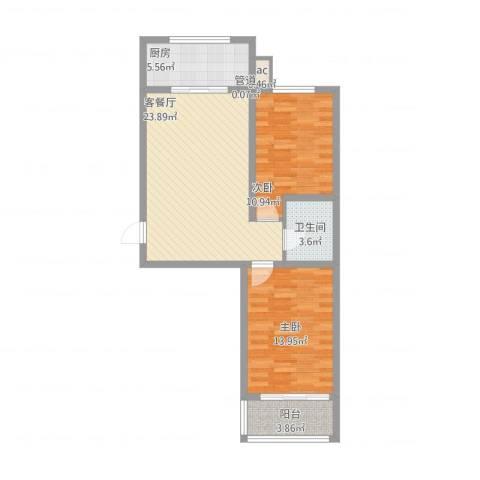 华锐塔湾欣城2室2厅1卫1厨90.00㎡户型图