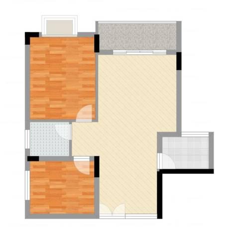 水墨兰庭2室2厅1卫1厨79.00㎡户型图