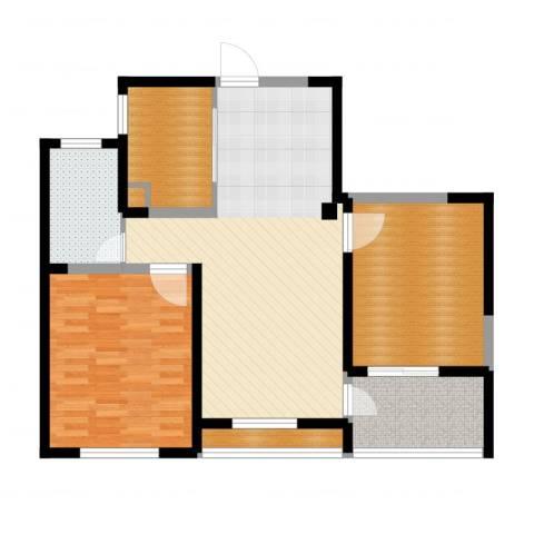 长江国际・朗庭2室2厅1卫1厨97.00㎡户型图
