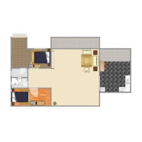 嘉信城市花园三期6座11A012室2厅2卫1厨131.00㎡户型图