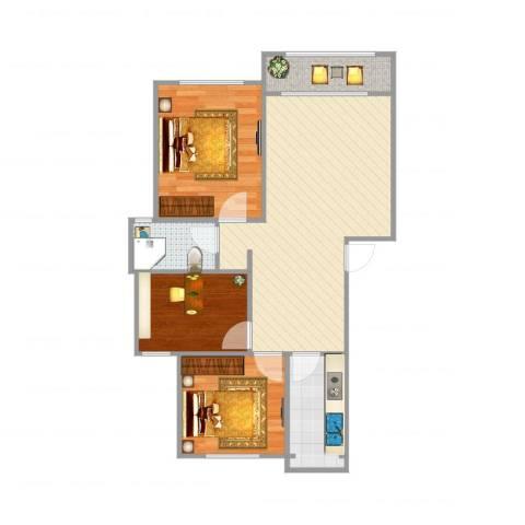 未来花园3室1厅1卫1厨78.00㎡户型图