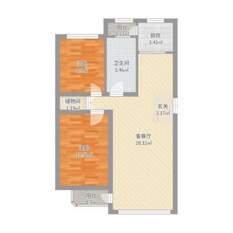 林韵春天2室2厅1卫1厨89.00㎡户型图