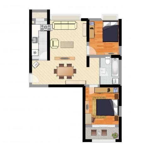 浩华香颂国际城2室2厅1卫1厨72.00㎡户型图
