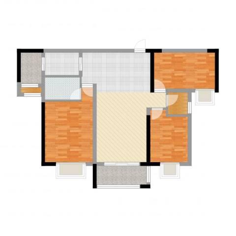 万豪水晶湾3室2厅2卫1厨101.00㎡户型图