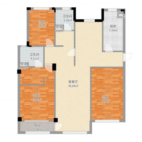 万科假日风景3室2厅2卫1厨147.00㎡户型图