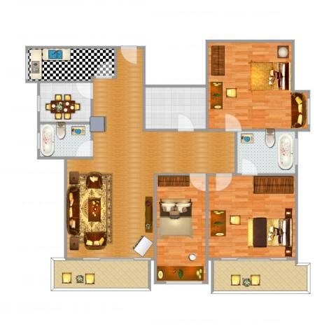 皇冠花园4室1厅2卫1厨160.00㎡户型图