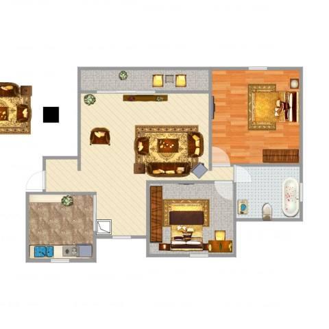 浦江宝邸2室1厅1卫1厨87.00㎡户型图