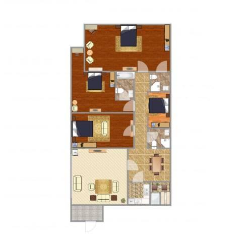 嘉信城市花园三期4室2厅4卫1厨202.00㎡户型图