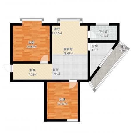 金花园2室2厅1卫1厨103.00㎡户型图