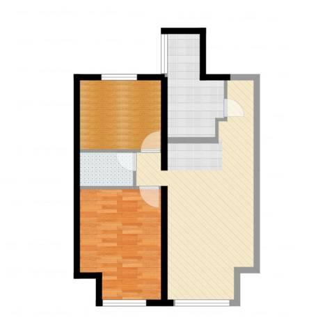 金地西沣公元2室1厅1卫1厨74.00㎡户型图