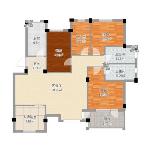 长鹭・晶品缘林3室2厅2卫1厨156.00㎡户型图