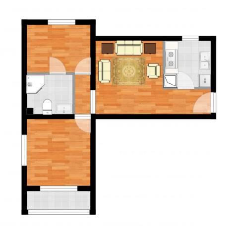 龙康新苑0012室2厅1卫1厨55.00㎡户型图