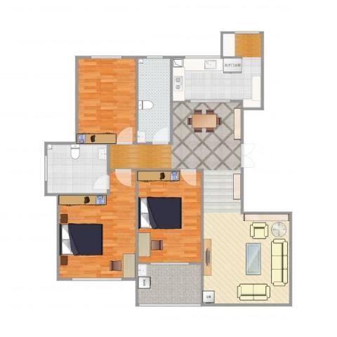 金宸公馆3室1厅2卫1厨141.00㎡户型图