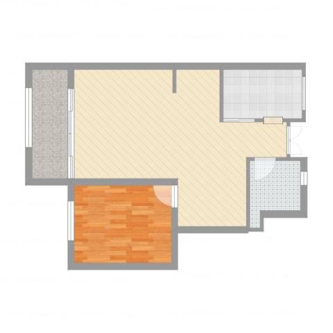华润城立方1室1厅1卫1厨67.00㎡户型图