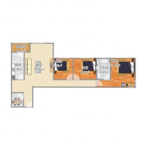 丰景御苑3室2厅1卫1厨101.00㎡户型图