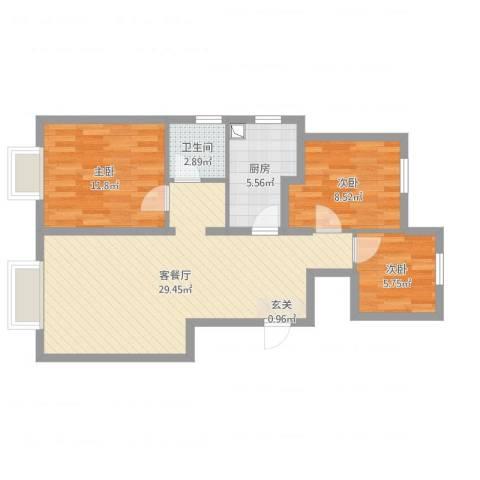 东丽湖万科城鹭湖3室2厅1卫1厨91.00㎡户型图