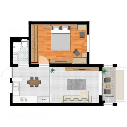 上南五村1室1厅1卫1厨55.00㎡户型图