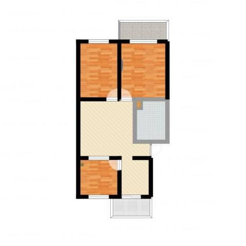 西安市政府小区3室1厅1卫1厨88.00㎡户型图