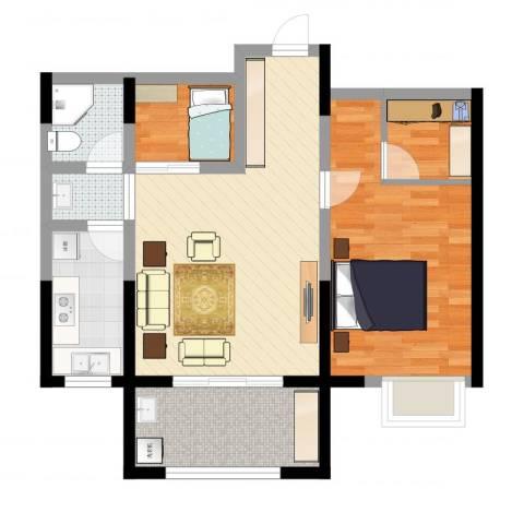 恒馨苑2室4厅1卫1厨73.00㎡户型图