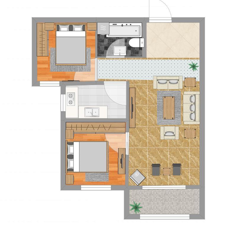 汇君城L1-C户型78.70两室