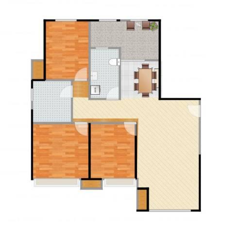 金地西沣公元3室1厅4卫1厨116.00㎡户型图