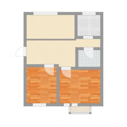 康静里小区2室2厅1卫1厨51.00㎡户型图