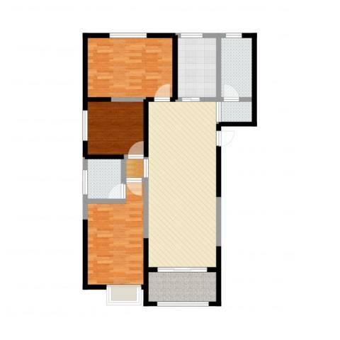恒馨苑3室4厅2卫1厨110.00㎡户型图