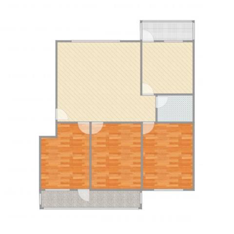玫瑰花园3室2厅1卫1厨133.00㎡户型图