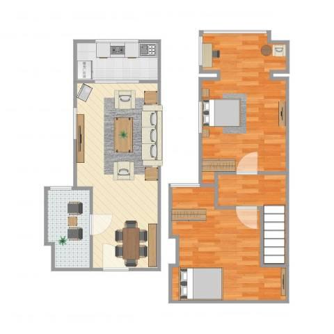 东方罗马花园2室1厅1卫1厨77.00㎡户型图