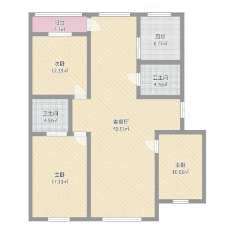 乐活・两岸568庄园3室2厅2卫1厨155.00㎡户型图