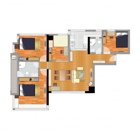 华景新城六期逸意居4室2厅2卫1厨120.00㎡户型图