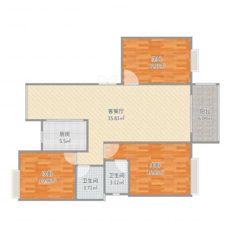 高能上城3室2厅2卫1厨125.00㎡户型图