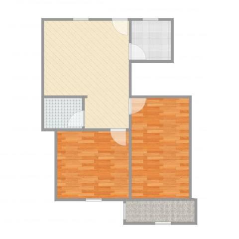 洋桥东里2室1厅1卫1厨68.00㎡户型图