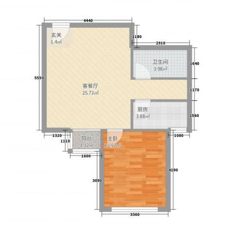 西文东苑1室2厅1卫1厨67.00㎡户型图