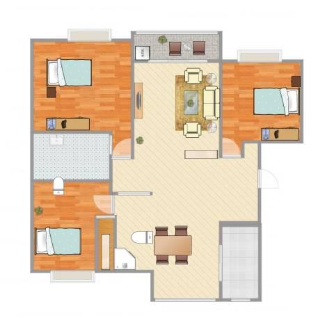 江桥佳苑3室2厅1卫1厨118.00㎡户型图