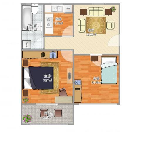 丰庄十四街坊2室1厅1卫1厨85.00㎡户型图