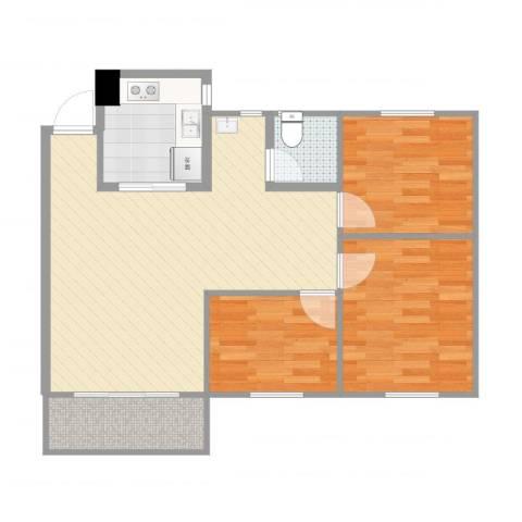 盛地龙泉3室1厅1卫1厨77.00㎡户型图
