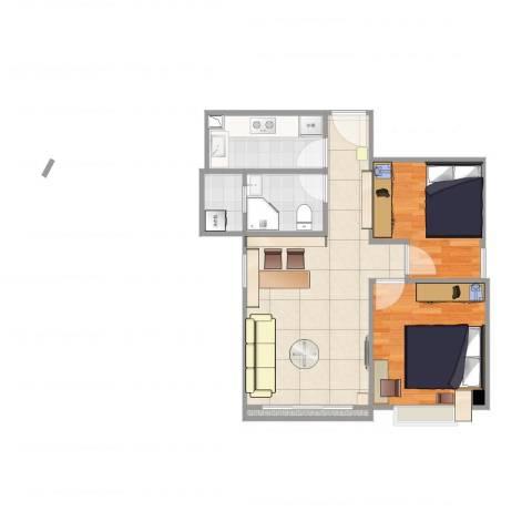 富力天朗明居2室1厅1卫2厨59.00㎡户型图