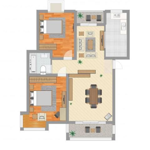 金桥慧景2室2厅1卫1厨96.00㎡户型图