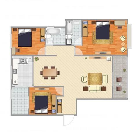 锦逸国际城3室4厅2卫1厨136.00㎡户型图