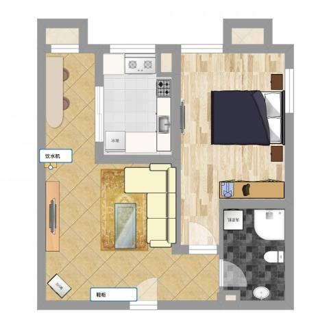 百欣花园1室2厅1卫1厨53.00㎡户型图