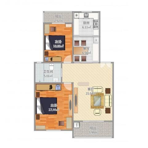 湖畔佳苑2室2厅1卫1厨108.00㎡户型图