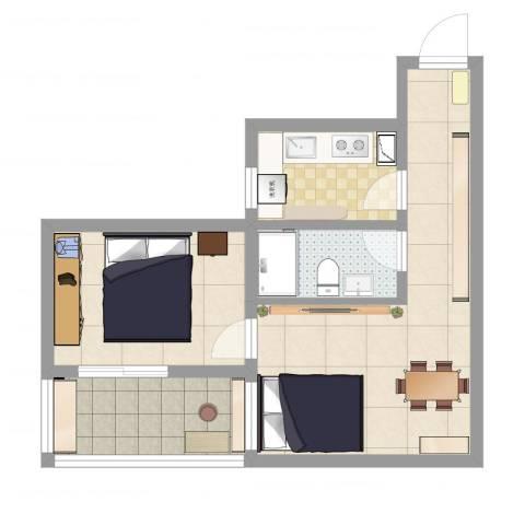 富华家园1室2厅1卫1厨53.00㎡户型图
