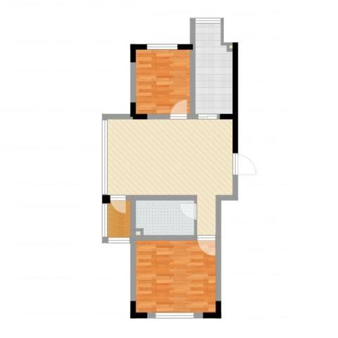 天富北苑2室2厅1卫1厨54.36㎡户型图