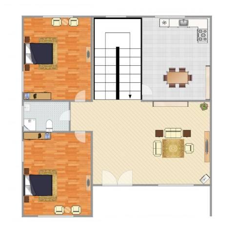 君临天下2室1厅1卫1厨209.00㎡户型图