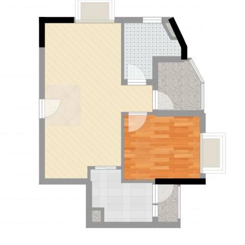 GOGO Park万荟时代1室2厅1卫1厨54.00㎡户型图
