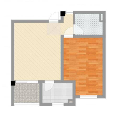 教授花园三期新里程1室2厅1卫1厨55.00㎡户型图